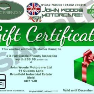 Classic Friendly Inspection Gift Certificate for John Woods Motorcare Ltd