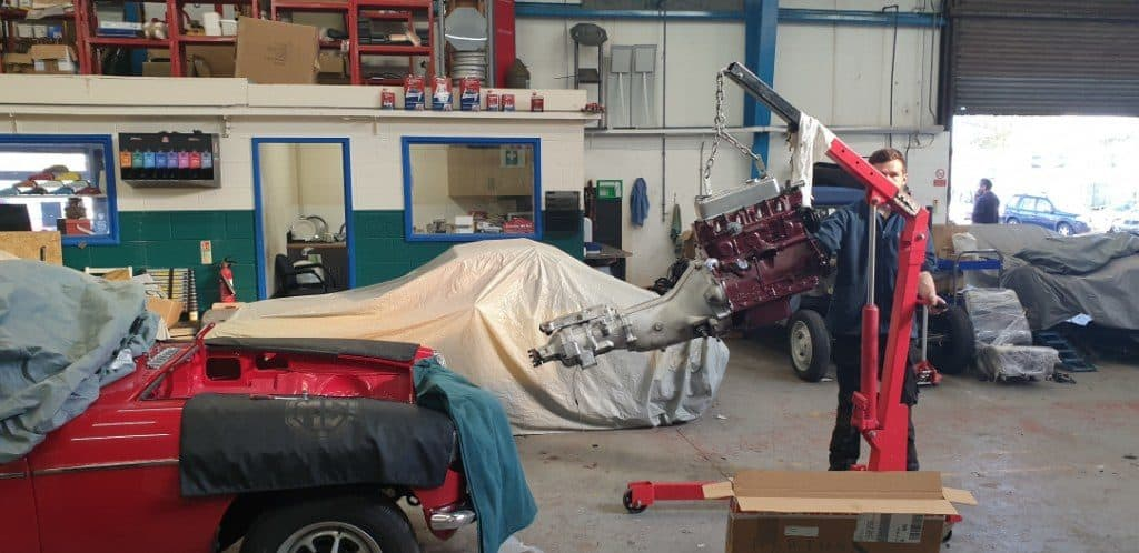 MGB GT Engine Reinstallation and Rebuild at John Woods Motorcare after Bodywork Panel & Paint at Sefton Classics