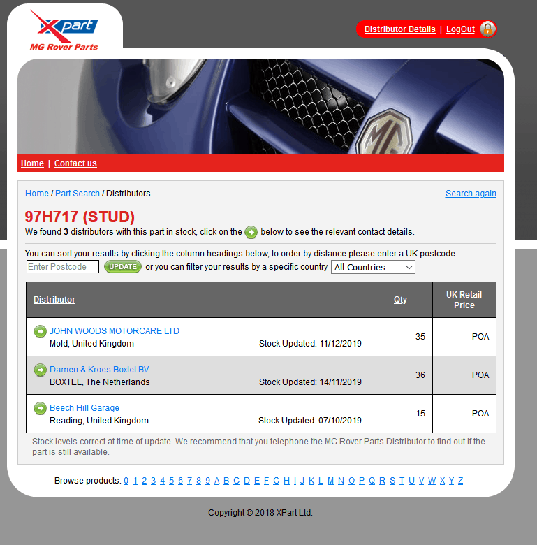 XPart MG Rover Part Finder Website
