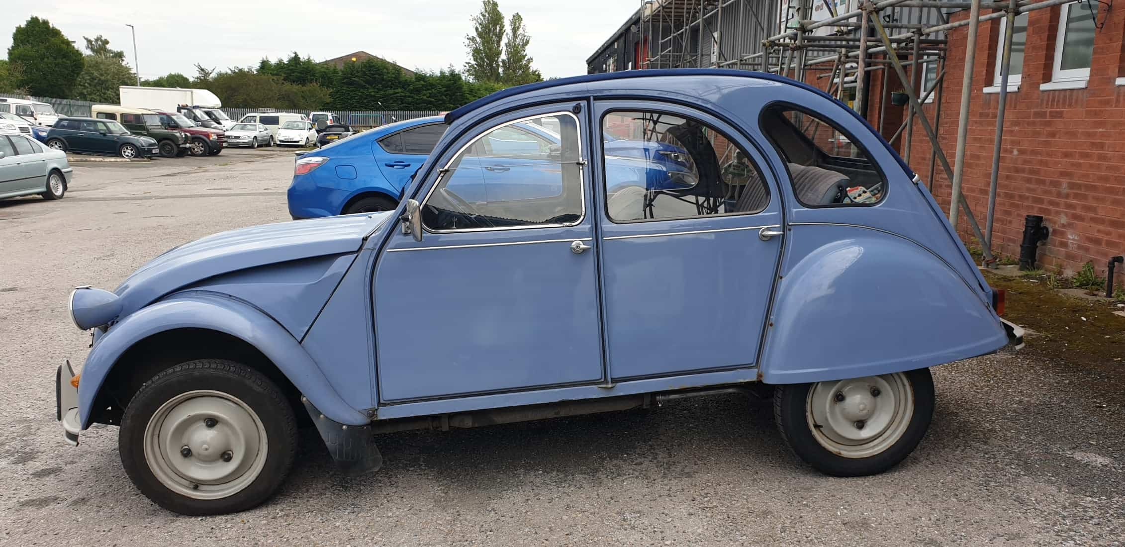 Betty Blue the Citroen 2CV6 comes in for an inspection prior to attending 23rd 2cv World Meeting 2019 in Croatia